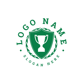 Green Badge and Tournament Trophy logo design
