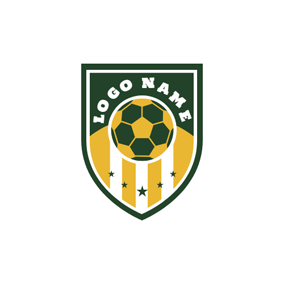 Green Badge and Yellow Football logo design