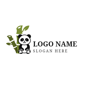 Green Bamboo and Cute Panda logo design