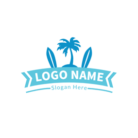 Green Banner and Blue Surfboard logo design