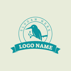 Green Banner and Kingfisher logo design