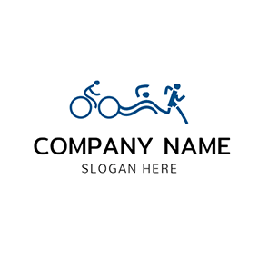 Green Bicycle and Abstract Sportsman logo design