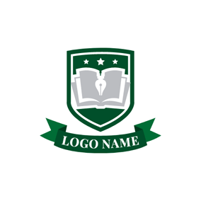 Green Book Shield and Banner Emblem logo design