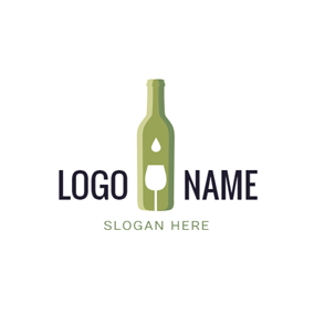 Green Bottle and White Glass logo design