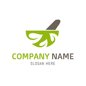 Green Bowl and Herbal Medicine logo design