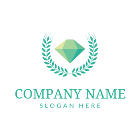 Green Branch and Diamond logo design