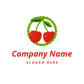 Green Branch and Red Cherry logo design