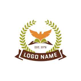 Green Branch and Yellow Pigeon logo design