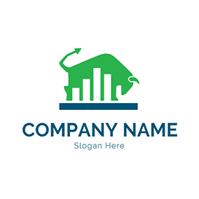 Green Bull and White Bar Graph logo design