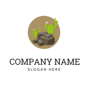 Green Cactus and Stone logo design