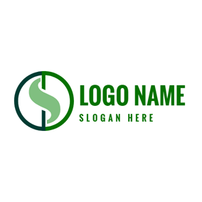 Green Circle and Abstract Dollar logo design