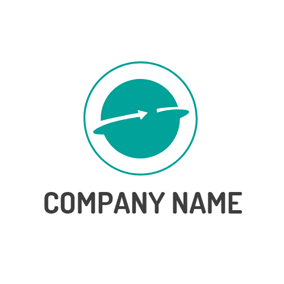 Green Circle and Arrow logo design