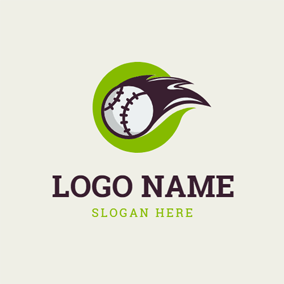 Green Circle and Baseball logo design