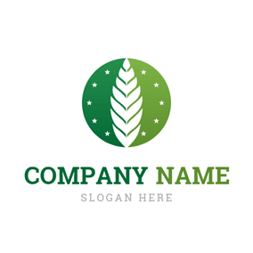 Green Circle and Beautiful Leaf logo design