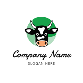 Green Circle and Black Cow Head logo design