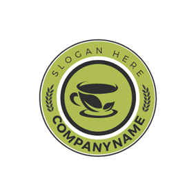 Green Circle and Black Tea Cup logo design