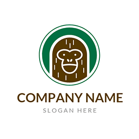 Green Circle and Brown Monkey logo design