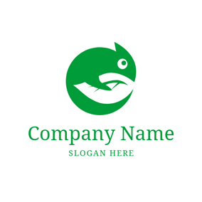 Green Circle and Chameleon logo design