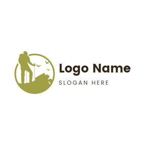 Green Circle and Climber logo design