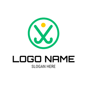 Green Circle and Crossed Hockey Stick logo design