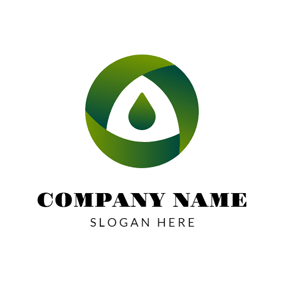 Green Circle and Drop logo design