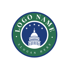 Green Circle and Government Building logo design