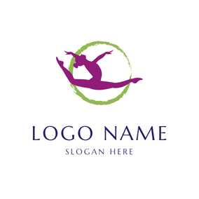 Green Circle and Gymnast logo design