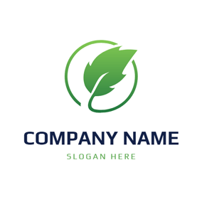 Green Circle and Mint Leaf logo design