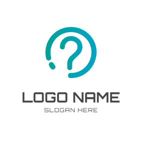 Green Circle and Question Mark logo design