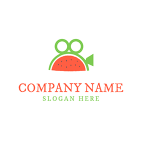 Green Circle and Red Watermelon logo design
