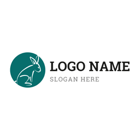 Green Circle and Seated Rabbit logo design