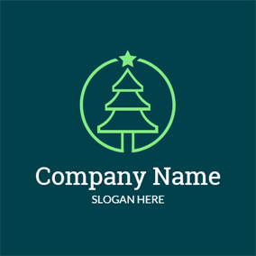 Green Circle and Simple Christmas Tree logo design