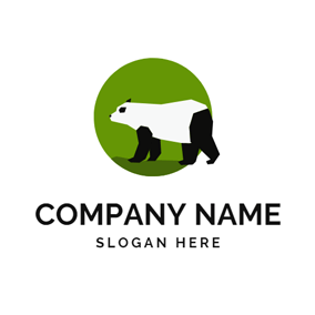 Green Circle and Standing Panda logo design