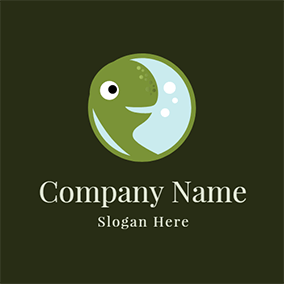 Green Circle and Turtle Head logo design