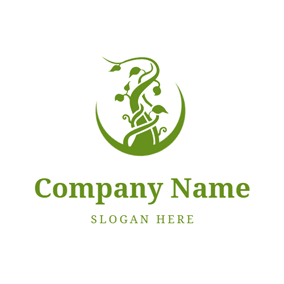 Green Circle and Vine Twisted Trunk logo design