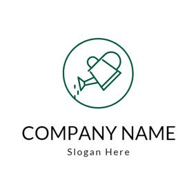 Green Circle and Watering Can logo design