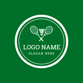 Green Circle and White Badminton logo design