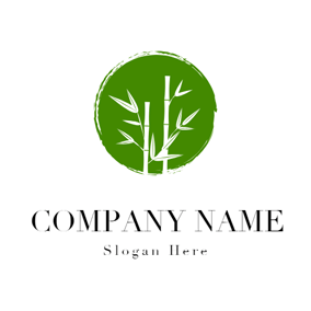 Green Circle and White Bamboo logo design