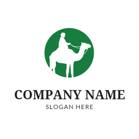 Green Circle and White Camel logo design