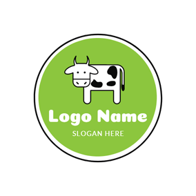 Green Circle and White Dairy Cow logo design