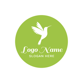 Green Circle and White Hummingbird logo design