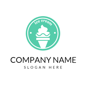 Green Circle and White Ice Cream logo design