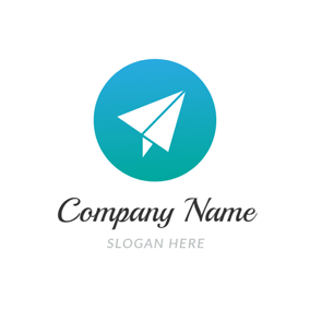 Green Circle and White Plane logo design