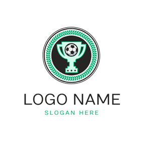 Green Circle Football Trophy logo design