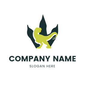 Green Claw and Flat Dinosaur logo design
