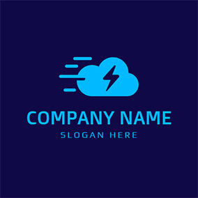 Green Cloud and Blue Thunderstorm logo design