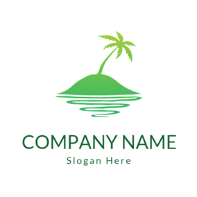 Green Coconut Tree Tropical Tourism logo design