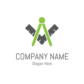 Green Compasses and Black Ruler logo design
