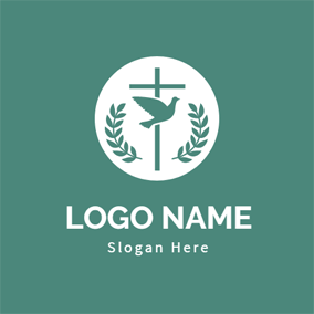 Green Cross and Dove logo design