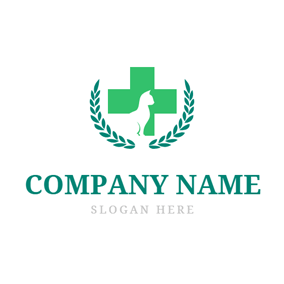 Green Cross and White Cat logo design